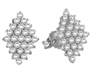 Elegant Marquise Shaped Round Diamond Cluster Earrings