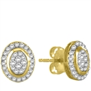 Image for Elegant Oval Shaped Round Diamond Cluster Earrings