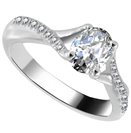 Infinity Twist Oval Diamond Engagement Ring