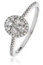 0.40CT Modern Oval Shaped Round Diamond Cluster Halo Ring