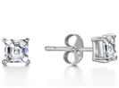 Four Corner Prong Asscher Diamond Stud Earrings