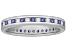 Image for 3mm Blue Sapphire and Diamond Eternity Ring