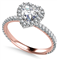 Heart Shaped Diamond Single Halo Shoulder Set Ring DHAN519 Rose Thumbnail 3