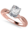 Modern Intertwined Cushion Diamond Engagement Ring DHAN516CU Rose Thumbnail 3