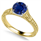 Unique Single Blue Sapphire Vintage Filgree Style Ring DHAN704BS Yellow Thumbnail 4