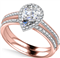 Pear Diamond Shoulder Set Ring With Matching Band DHAN563W Rose Thumbnail 3