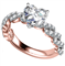 Embellished Twist Heart Diamond Vintage Plait Ring DHAN521HRT Rose Thumbnail 3